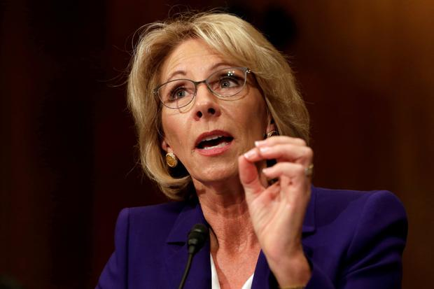 Betsy DeVos needed the vote of Vice-President Mike Pence Photo: Reuters