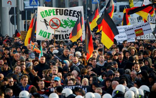 A protest in Cologne following New Year's attacks last year