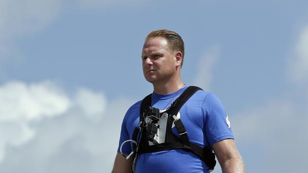 High wire performer Nik Wallenda practises in Sarasota, Florida, in 2013 (Chris O'Meara/AP)