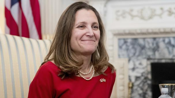 Canadian foreign affairs minister Chrystia Freeland says new trade tariffs would be mutually harmful (AP)