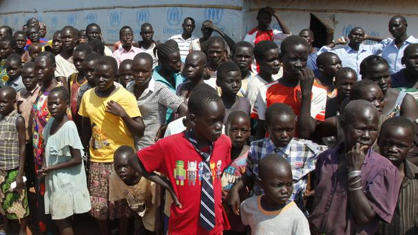 A transit centre for South Sudanese refugees in Uganda, near the border with South Sudan (Stephen Wandera/AP)