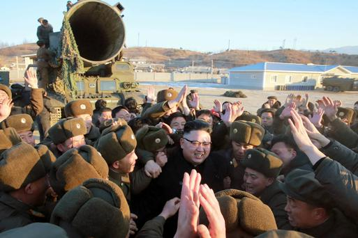 North Korean leader Kim Jong Un at the test-firing of a Pukguksong-2 missile in a photo released by the state news agency in Pyongyang yesterday Picture: Reuters