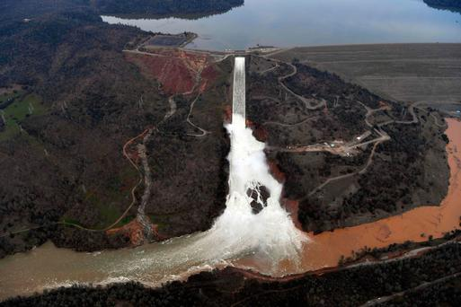 The Oroville Dam spillway releases 2,800 cubic metres of water per second from the reservoir in Oroville, California. Photo: Getty Images