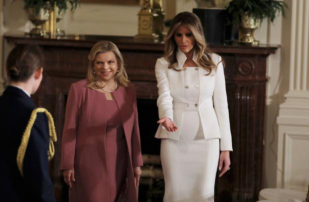First lady Melania Trump leads the way for Sara Netanyahu at the White House
