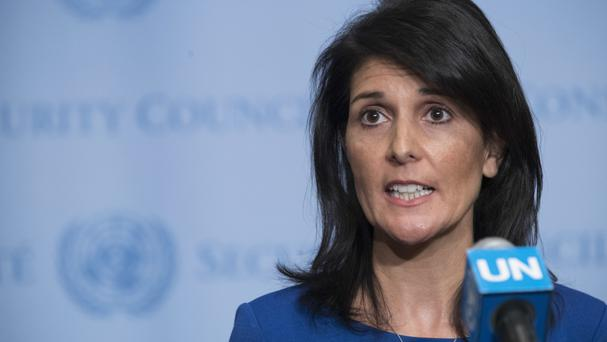 Nikki Haley speaks to reporters after a Security Council meeting on the situation in the Middle East (AP/Mary Altaffer)