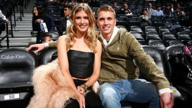 Eugenie Bouchard and John Goehrke during their date at an NBA game in Brooklyn