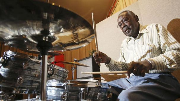Drummer Clyde Stubblefield pictured in 2015 plays to raise money for a scholarship fund established in his name (Amber Arnod/Wisconsin State Journal/AP)