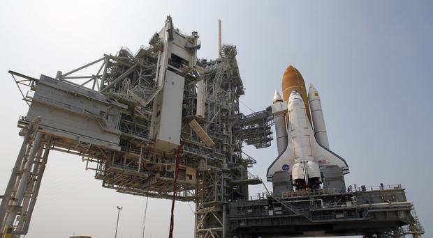 Space shuttle Atlantis is mounted on Pad 39A at the Kennedy Space Centre in Cape Canaveral in 2011