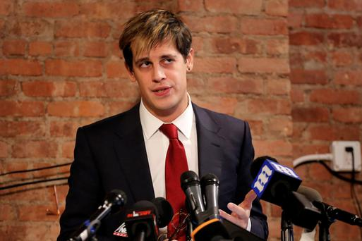 Milo Yiannopoulos speaking at a press conference yesterday