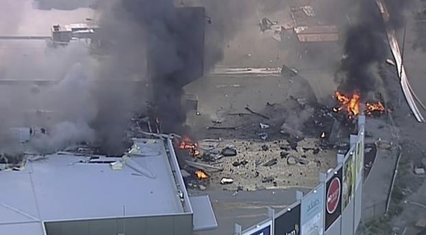 The scene of the plane crash at Essendon (Channel 9/AP)