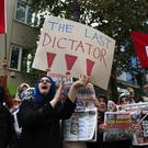 Protesters holding placards and waving flags demonstrate in Turkey (AP/Lefteris Pitarakis)