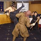 A ninja demonstration during a press conference in Tokyo (AP/Shizuo Kambayashi)
