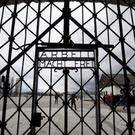 A copy of the gate in Dachau, Germany (Sven Hoppe/dpa via AP)