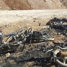 Motorcycles damaged after a suicide attacker blew up his pick-up truck outside a security office in Sousian, about five miles north of al-Bab (Thiqa News Agency, via AP)