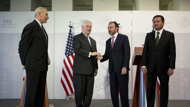 Senior US and Mexican officials met in Mexico City on Thursday (AP/Rebecca Blackwell)