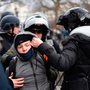 Police arrest a youth in clashes between demonstrators and riot police in Paris this week. Photo: Lionel Bonaventure/Getty