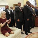 Kellyanne Conway on the couch in the Oval Office (Pablo Martinez Monsivais/AP)