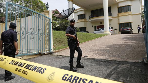 Police cordon off the North Korean Embassy in Kuala Lumpur, Malaysia (Vincent Thian/AP)