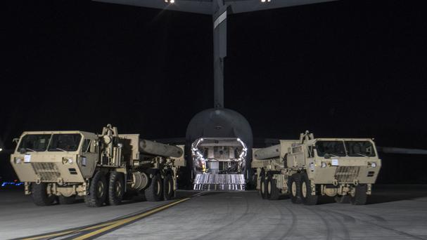 Trucks carrying US missile launchers and other equipment arrive at the Osan air base in Pyeongtaek, South Korea (US Forces Korea/AP)