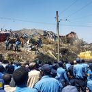 Police officers at the scene of a rubbish dump landslide in Addis Ababa
