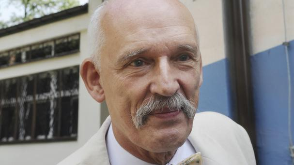 Janusz Korwin-Mikke is a radical right-winger who leads a marginal party (Alik Keplicz/AP)