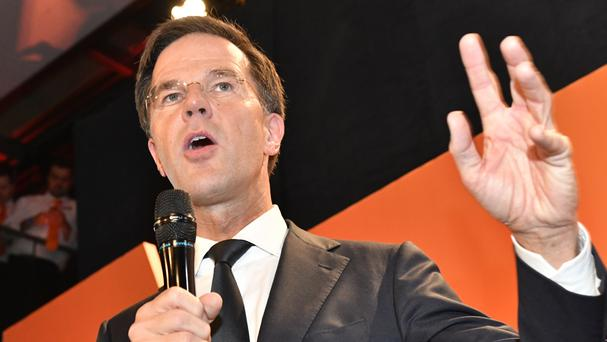 Mark Rutte speaks to his supporters (AP/Patrick Post)