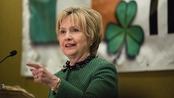Hillary Clinton speaks at the Society of Irish Women's annual dinner on St Patrick's Day in her late father's home town in Scranton (AP Photo/Matt Rourke)