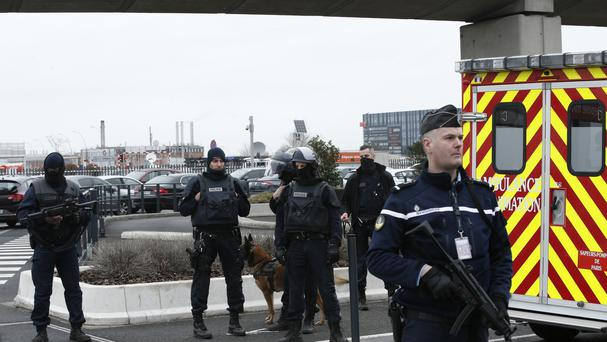 French police secure Orly airport, south of Paris (AP/Thibault Camus)