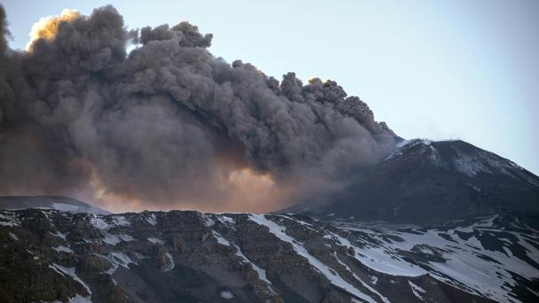 Volcanic rocks and steam injured at least 10 people on Thursday (AP)