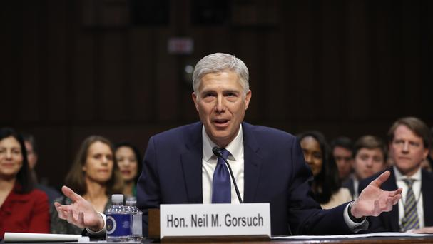 Supreme Court Justice nominee Neil Gorsuch speaks on Capitol Hill in Washington (Pablo Martinez Monsivais/AP)