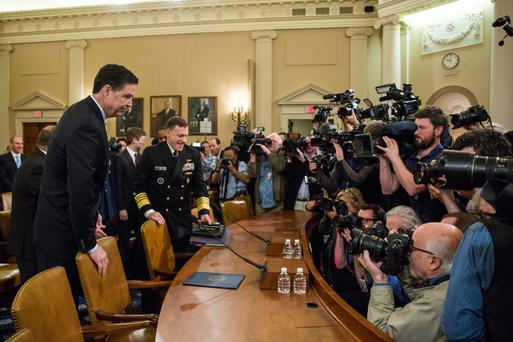 FBI director James Comey arrives at the start of a House Permanent Select Committee on Intelligence hearing concerning Russian meddling in the 2016 election, on Capitol Hill in Washington, DC. Photo: Zach Gibson/Getty Images