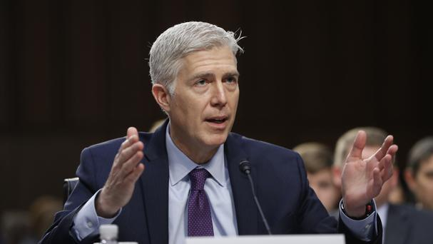 Neil Gorsuch gives evidence during his confirmation hearing before the Senate Judiciary Committee (AP)