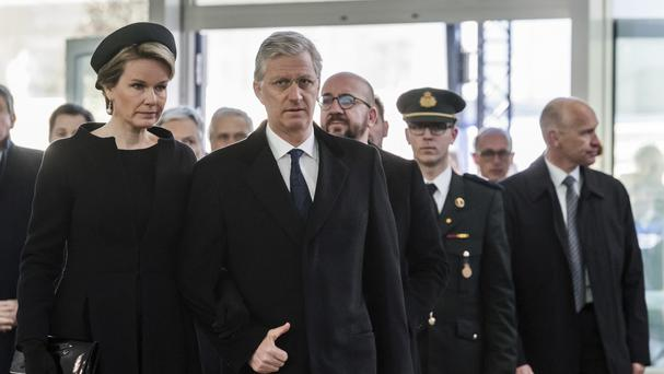 Belgium's King Philippe and Queen Mathilde attended the anniversary service (AP)