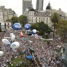 Thousands of teachers pack the Plaza de Mayo square in front of the presidential palace, demanding higher wages, in Buenos Aires (AP Photo/Victor R. Caivano)