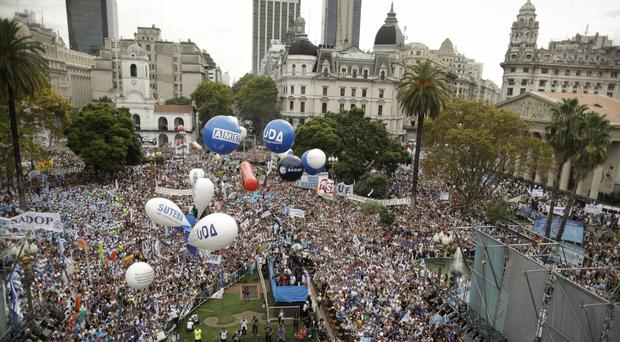 Striking Argentine teachers stage protest march in capital