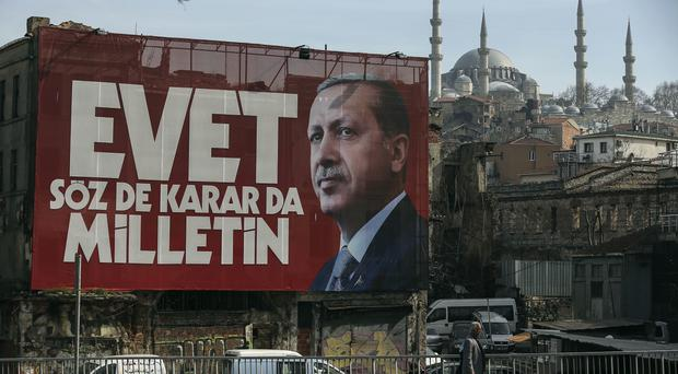 A poster of Turkey's President Recep Tayyip Erdogan ahead of the referendum to expand the powers of the presidency (AP Photo/Emrah Gurel)