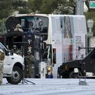SWAT teams surround the bus along Las Vegas Boulevard (AP)