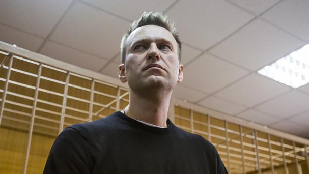 Russian opposition leader Alexei Navalny appears in court in Moscow (AP)
