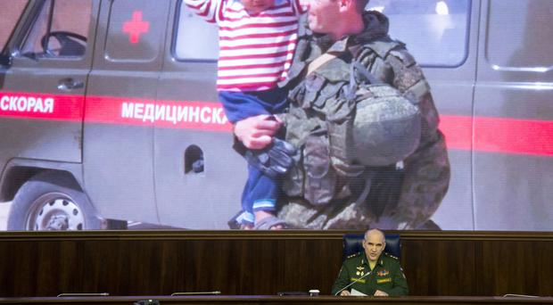 Col Gen Sergei Rudskoi of the Russian military's General Staff speaks at a briefing. (AP/Alexander Zemlianichenko)