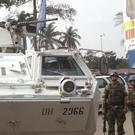 UN troops seen on patrol in the city of Kinshasa, Congo. (AP/John Bompeng)