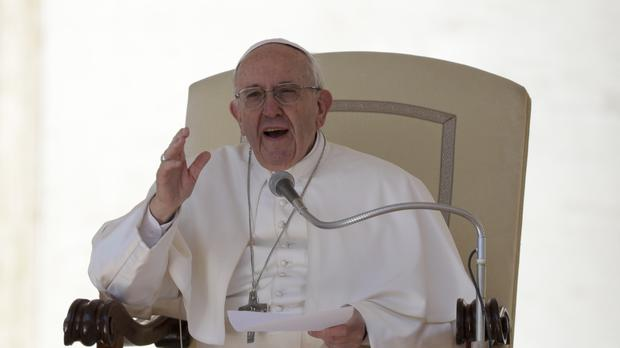 Pope Francis delivers his speech during his weekly general audience, at the Vatican. (AP/Andrew Medichini)
