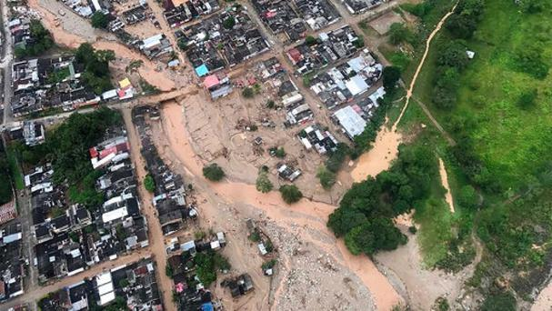 An aerial view of a portion of Mocoa after it was hit by an avalanche of water. (Cesar Carrion/Colombian Presidential Press Office/AP)