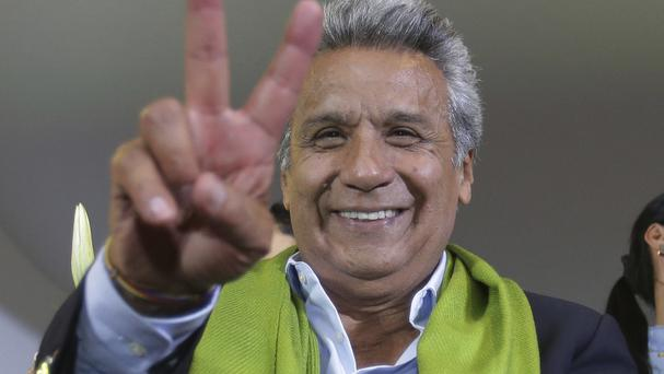 Lenin Moreno at the end of the day of the presidential election in Ecuador (AP)
