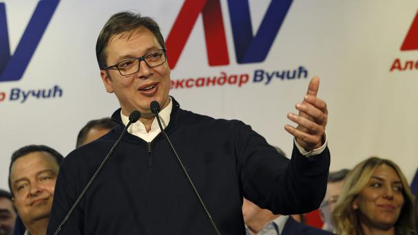 Aleksandar Vucic speaks during a press conference after claiming victory in the presidential election, in Belgrade, Serbia (Darko Vojinovic/AP)