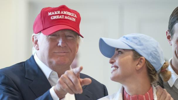 Donald Trump with his daughter Ivanka at his Trump Turnberry golf course in Ayrshire