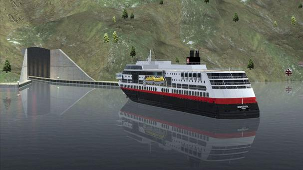 A computer-rendered image shows a ferry approaching the entrance of a tunnel for ships (Snohetta/Norwegian Coastal Administration via AP)