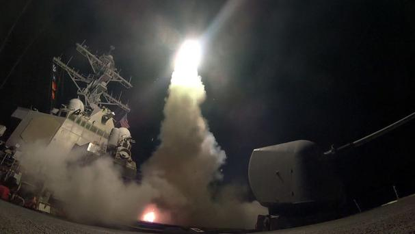 A tomahawk land attack missile is launched in the Mediterranean Sea (Mass Communication Specialist 3rd Class Ford Williams/US Navy via AP)