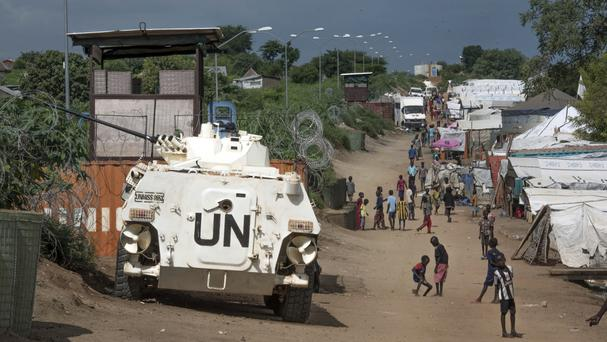 Civilians sheltering in a United Nations base in South Sudan (AP/Jason Patinkin)