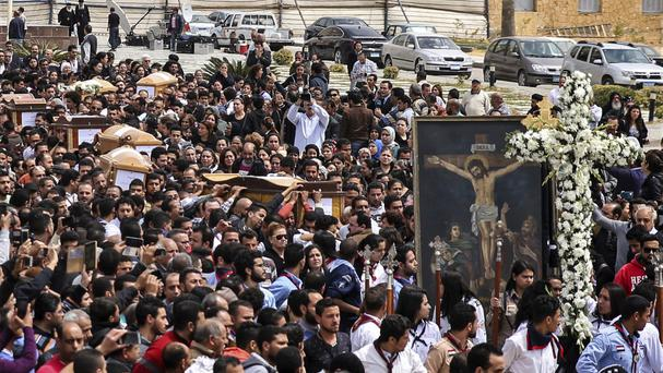 Coffins arrive for the funeral of those killed in the Palm Sunday church attack in Alexandria (AP)