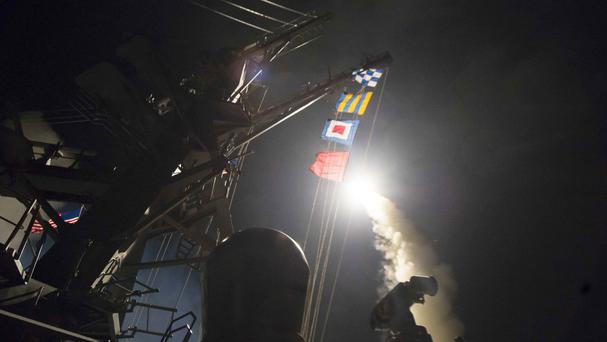 The US blamed Bashar Assad's government for the attack and launched nearly 60 cruise missiles on Friday at the Shayrat air base (US Department of Defence)